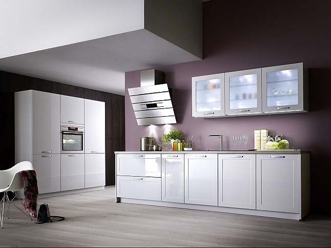 ap ro k chen musterk che frontfarbe moonlight grey hochglanz lackiert ausstellungsk che in. Black Bedroom Furniture Sets. Home Design Ideas