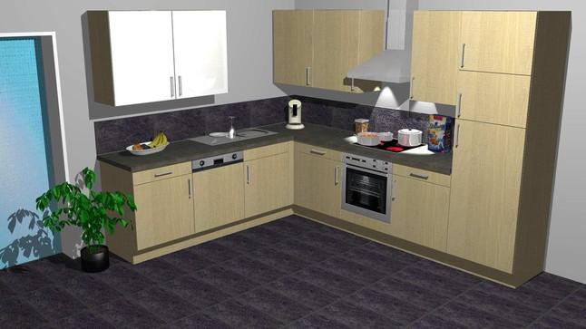 kitchenclick musterk che kleine k che in l form. Black Bedroom Furniture Sets. Home Design Ideas